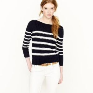 J. Crew ripplestitch navy striped sweater
